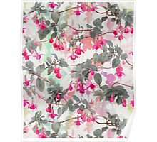 Rainbow Fuchsia Floral Pattern - with grey Poster