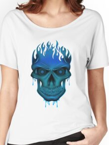Flame Skull - Blue (2) Women's Relaxed Fit T-Shirt