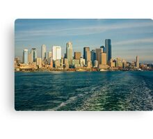 Seattle Skyline from Ferry Boat Canvas Print