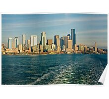 Seattle Skyline from Ferry Boat Poster