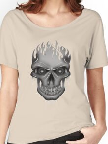 Flame Skull - Silver Women's Relaxed Fit T-Shirt