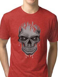 Flame Skull - Silver Tri-blend T-Shirt