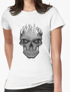 Flame Skull - Silver T-Shirt