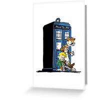 calvin and hobbes police box in action Greeting Card