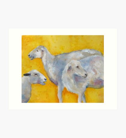 Saintly Three Sheep Art Print