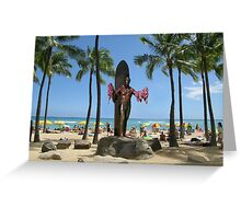 Duke Paoa Kahanamoku Statue at Waikiki Beach Greeting Card