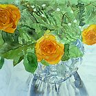 Vase: Yellow roses by Sandrine Pelissier