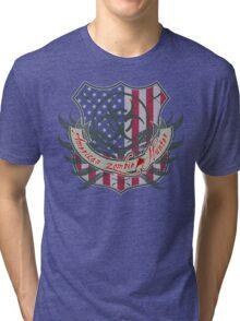 American Zombie Hunter shield Tri-blend T-Shirt
