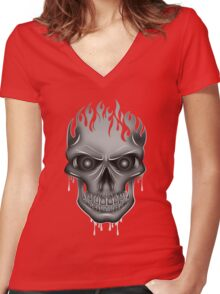 Flame Skull - Silver (2) Women's Fitted V-Neck T-Shirt