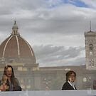 Relections on Uffizi roof top cafe by Indrani Ghose