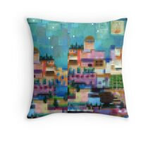 Exotic holiday - pixel block digital art cityscape Throw Pillow