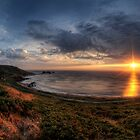 Sunset over Clonque Bay on Alderney by NeilAlderney
