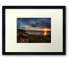 Sunset over Clonque Bay on Alderney Framed Print