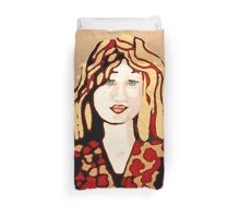 Girl with strawberry blonde hair Duvet Cover