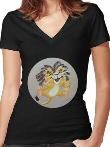 Happy Cute Rasta Lion Women's Fitted V-Neck T-Shirt
