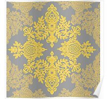 Golden Folk - doodle pattern in yellow & grey Poster