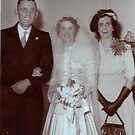 My mother with her parents on her wedding day by Julie Sleeman