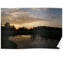 Hot Summer Sunset at the Farm Poster