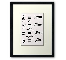 I ♥ Music (Style #1 Black on Light) Framed Print