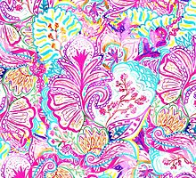 Psychedelic bright abstract girly floral pattern by GirlyTrend