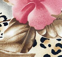 Abstract girly pink brown leopard print floral  by Maria Fernandes