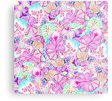 Psychedelic bright abstract girly floral pattern Metal Print