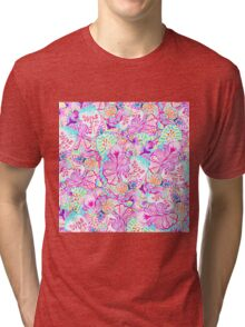 Psychedelic bright abstract girly floral pattern Tri-blend T-Shirt