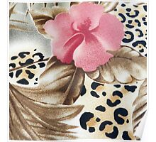 Abstract girly pink brown leopard print floral  Poster