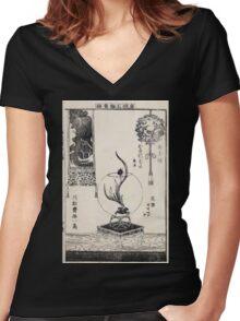 Shofu Enshuryu ikebana hamana no umi Flower Arrangement Toto Shoshi V3 1835 0002 Women's Fitted V-Neck T-Shirt