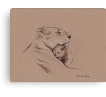 """A Mother's Pride"" Lioness and cub original pencil drawing. Canvas Print"