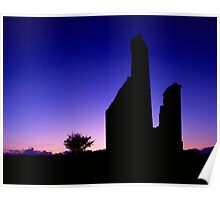 Engine House Silhouette at Dusk Poster
