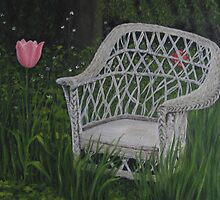 Oil - Old Wicker Chair by Luci Feldman