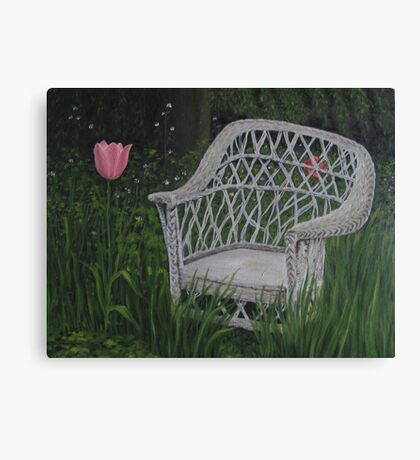 Oil - Old Wicker Chair Canvas Print