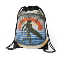 Surfing - Summer Sun and Palm Trees and Paint Brushes Drawstring Bag