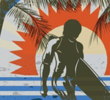 Life by the Beach - Surfing - Summer Sun and Palm Trees Sticker