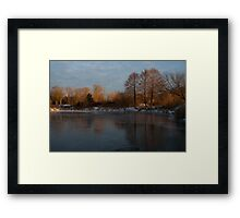 Gray and Amber - an Early Winter Morning on the Lake Shore Framed Print