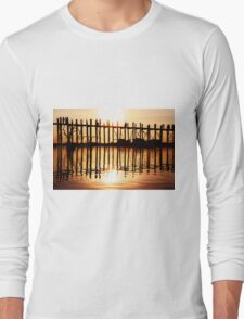 Silhouette of People on Long Wooden Bridge in Mandalay, Burma Long Sleeve T-Shirt