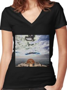 Dome Sculpture @ Sculptures By The Sea 2012 Women's Fitted V-Neck T-Shirt