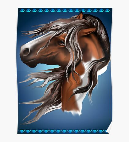 Paint Horse Face Poster