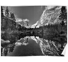 Yosemite Mirror Lake Panorama BW Poster