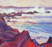'Sea Walk'  -  Climbing the jetty during high surf by Jean  W. Thomas