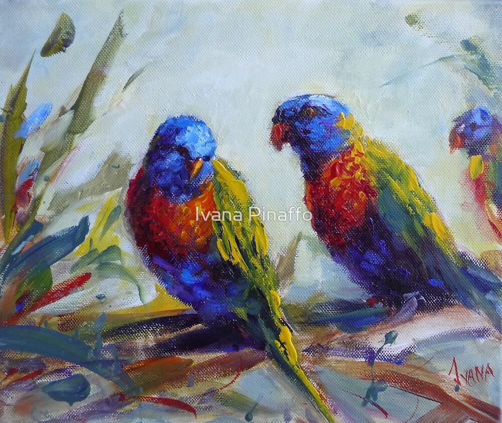 Rainbow lorikeets by Ivana Pinaffo