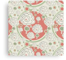 Doodle Flowers and Circles Pattern Canvas Print