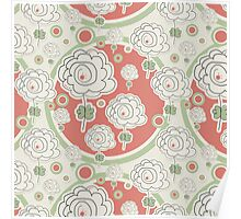 Doodle Flowers and Circles Pattern Poster