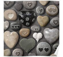 Heart shaped stones and rocks Poster