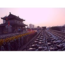 Bikes on the Wall, Sunset Photographic Print