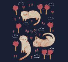 Orange Cat Pattern Kids Tee