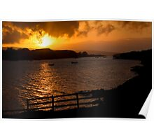 Golden rays over loch Dunvegan Poster