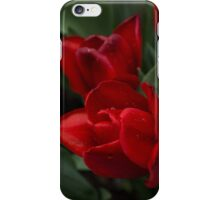 Rainy Spring Garden with Vivid Red Tulips iPhone Case/Skin