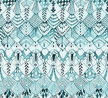 Owl Feathers in Teal by ThistleandFox